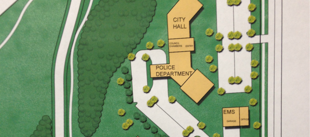 A concept drawing displayed at Monday's city council meeting showing a potential layout for the future city campus.