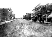 The view of downtown Bonner Springs, looking up Oak Street, in 1907, prior to the fire that would destroy several buildings in the 100 block in 1908. From the Urbin Ruddell collection.