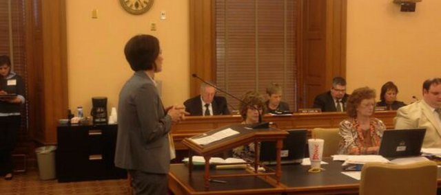 Nicole Hodges testifies to the House Appropriations Committee on Monday about funding for virtual schools in Kansas.