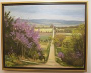 Colleen Z. Gregoire said she studied under the late Lawrence painter Robert Sudlow while at Kansas University and this painting of a road tracing through a Kansas landscape to a distant vanishing point was recalls a frequent subject of his paintings.
