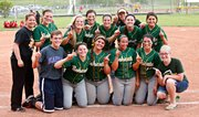 The BLHS softball team poses after clinching the 2014 Kaw Valley League title Thursday at Lansing. The Bobcats have won three of the last four KVL titles.