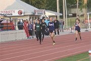 Baldwin senior Morgan Lober, second from right, breaks away from the field in the 200-meter dash at Thursday's Frontier League championships. Carlyn Cole, right, was third in the race. Lober also won the 400-meter dash, and Cole won gold at 100 meters.