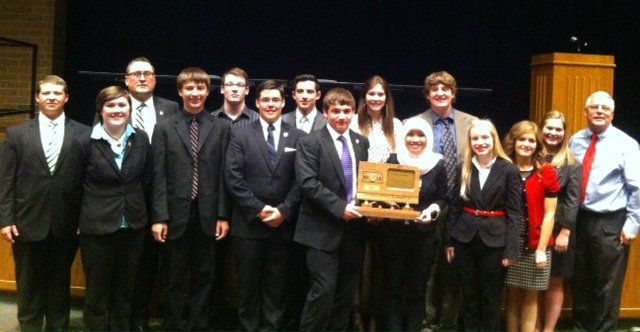 The Tonganoxie High forensics team once again placed second at state in Class 4A. Pictured, from left, Rodger Black, Lauren Harrell, coach Steve Harrell, Brett Bolon, Jacob Casselman, Austin Harris, Jackson Bartlett, Tyler Wehmeyer, Celeste Bartels, Indah Zatadini, Johnathan Irwin, Halston Field, Kate Ebbert, Emma DeMaranville and assistant coach Ken Church.