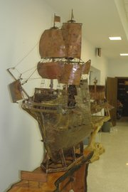 Leible's massive replica of the Mayflower is one of his pieces on display.