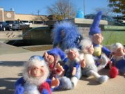 Handmade gnomes made by Shawnee's Vickie Hover were created to resemble the Royals players and sit here in front of the blue fountain at Shawnee City Hall. Hover will be displaying the gnomes at the upcoming Creative Hand Show and Sale at Old Shawnee Town Hall on Nov. 21 and 22.