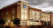 A conceptual image of what the Comfort Inn will look like. This is a concept image, some details of the building may not accurately reflect how Shawnee's will look. For example, the preliminary plans for SHawnee's Comfort Inn has a pitched roof rather than a flat roof.