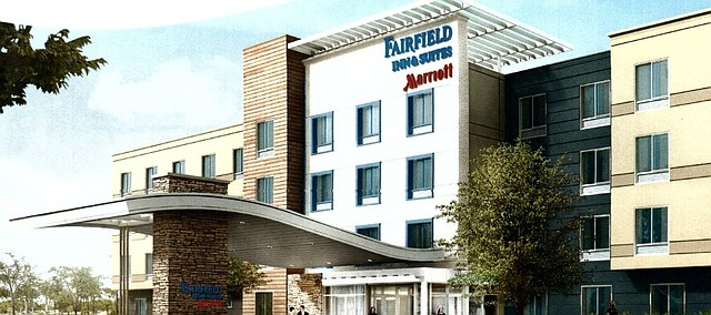 A conceptual drawing of the Fairfield Inn proposed at the corner of Midland Drive and Renner Road.