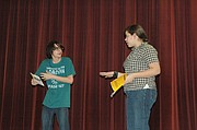 Hunter Amego (left) and Marisa Young rehearse Tuesday for the BSHS/CMS Drama Club's Dessert Theater production.