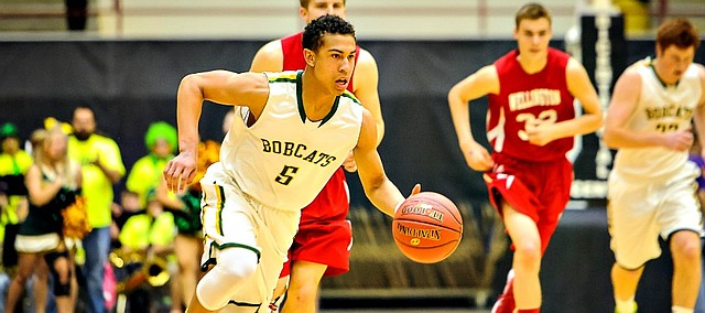 Basehor-Linwood guard Jahron McPherson had seven points and five steals against Wellington in the first round of the Class 4A-I state tournament in Salina on Wednesday.