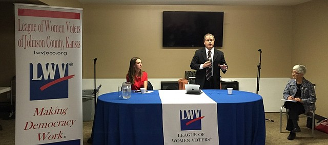 The two candidates for Shawnee Mayor, Michelle Distler and Dan Pflumm, discussed issues facing the city in a candidate forum Thursday evening.