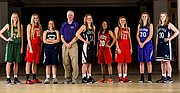 2015 all-area girls basketball, from left, Megan Bonar, De Soto; Brette Moore, Ottawa; Tori Huslig, Veritas Christian; Coach of the Year Bob Martin, Baldwin; Player of the Year Madison Piper, Free State; Marissa Pope, Lawrence; Corie Fischer, Ottawa; Maddie Ogle, Baldwin; Caitie Kaifes, Mill Valley.