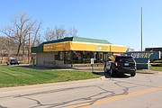 Police tape surrounds the Subway restaurant at 11210 Shawnee Mission Parkway following the death of an employee.