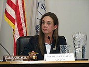 Michelle Distler lead half of the city council meeting on Monday after being sworn in as mayor.