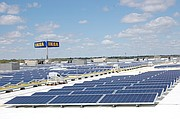 The 92,000-square-foot solar array on top of IKEA in Merriam consists of a 730.17-kW DC system, comprised of 2,394 panels, and will produce approximately 986,800 kWh of electricity annually