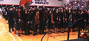 Baker University Class of 2015 members move their tassels at the end of Sunday's graduation ceremony, symbolizing their change in status from students to alumni of the school.