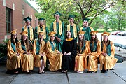 Twelve students graduated from Basehor Linwood Virtual School this spring. Shown above are (front row, from left) Alicia Self, McKenna Green, Lea Marie Justice, Lei'Onna Smith, Director Nicole Hodges, Naomi Evans, Tiani Hammons, Joan'll Montague; and (back row, from left) Daniel Gum, Alejandro Conrado Vaca Jr., William Cleaver, Justin Lopez and Aaron Barth.