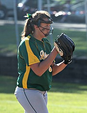 Basehor-Linwood pitcher Ashley Hoffman gave up just one hit in seven innings of work on Monday night.