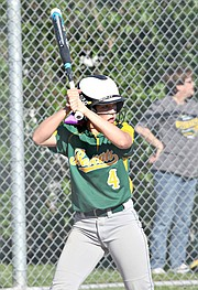 Basehor-Linwood junior Kali Jacobson waits for a pitch against Bonner Springs on Monday night.