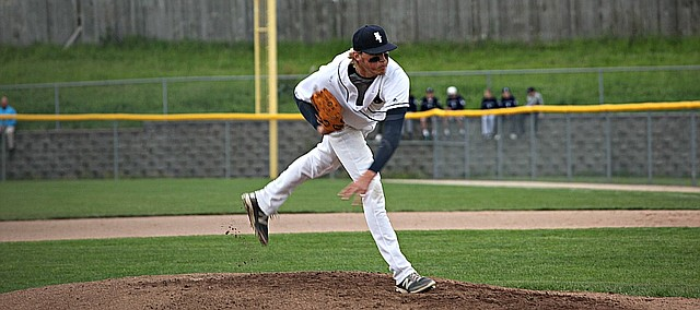 Mill Valley junior Luke Krull pitches 4 2/3 innings against Blue Valley Southwest in the regional finals.