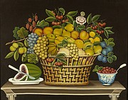 """Still Life with Basket of Fruit,"" artist identified 1830–50, oil on canvas, courtesy of the Barbara L. Gordon Collection, is part of ""A Shared Legacy: Folk Art in America"" at the Nelson-Atkins Museum of Art."