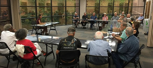 Mayor Michelle Distler sat with a group of Shawnee residents who attended the first Their Thursday meeting at the Shawnee Civic Center last week.