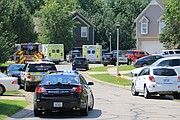 Shawnee Police, Fire, & Med-Act at the scene around noon Saturday.