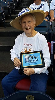 Evelyn VanKemseke sits in the Buck O'Neil Legacy seat for Wednesday's Kansas City Royals game.