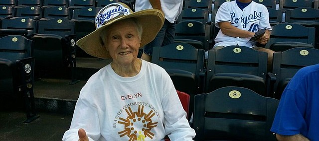 Evelyn VanKemseke shows her excitement as she arrives for the Kansas City Royals game.