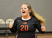 Bonner Springs' Payton Sechrist celebrates after a point against Eudora.