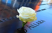 A flower rests on the 9/11 Memorial that features the names of the people who died on September 11, 2001. Marty Augustine visited the memorial last month.