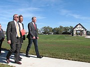 Shawnee Parks and Recreation Director Neil Holman gives Lord Mayor Andreas Bausewein and Dr. Rudiger Kirsten a tour of the new park.