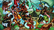 """The Mutiny on the Amistad,"" by Hale Aspacio Woodruff (American, 1900–1980), 1939, oil on canvas. Collection of Talladega College, Talladega, Ala. Copyright Talladega College. The painting is part of ""Rising Up: Hale Woodruff's Murals at Talladega College"" at the Nelson-Atkins Museum of Ar"