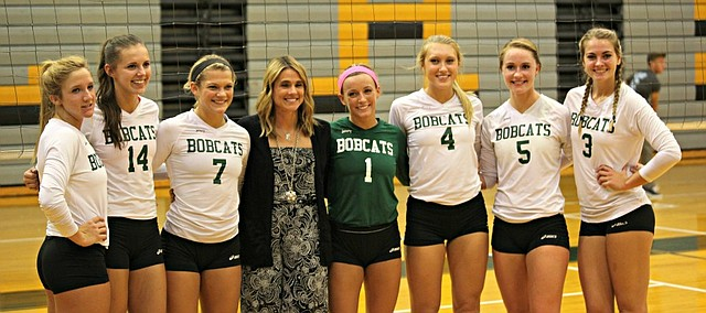 Basehor-Linwood honored seniors (from left) Nicole Rutherford, Mikala Grover, Courtney Norris, Jaime Weible, Jenna Mussett, Courtney Robinson and Madi Osterhaus on Tuesday night.