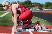 Paralympian Liz Willis trains at the Andover District Stadium in Andover, Kan. Willis is a member of the 2015 U.S. Paralympics Track and Field World Championship Team and will compete in the world championships in Qatar later this month.