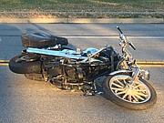 Witness Brandon Grimm shared a photo of the motorcycle following the crash.