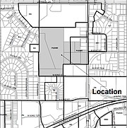 The dark gray area is the proposed location for Vantage at Shawnee Apartments.