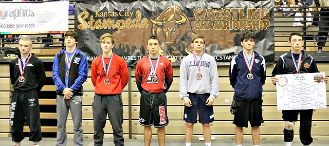 Mill Valley's Conner Ward (third from right) placed third at the KC Stampede tournament over the weekend.