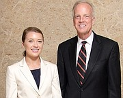 Madison Wheat stands with Sen. Jerry Moran. Wheat received nominations to the U.S. Naval Academy from Moran, Sen. Pat Roberts and U.S. Rep. Kevin Yoder.