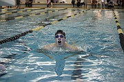 Mill Valley's Garrison Fangman makes his way toward the wall in the final length of the 100-breaststroke. Needing a 1:12.12 to qualify for state, Fangman touched the wall in 1:12.00. It was only his second time swimming the even this year.