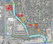 This map shows the route of the creek and various parcels of land that will be potentially be affected  by the Nieman Corridor South Storm Drainage Improvement project by the city of Shawnee.