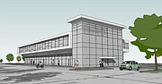 A preliminary concept drawing of a two-story office and retail building that could be constructed as part of the Stag's Creek commercial development on Shawnee Mission Parkway. Details of this conceptual drawing will change as design plans move forward.