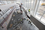 "Construction continues within the DeBruce Center and around the ""Rules Concourse,"" which will tell the story of basketball and lead to the ""Rules Gallery,"" where the James Naismith's official ""Rules of Basket Ball"" will be displayed. The building's interior is pictured Thursday, Feb. 25, 2016."