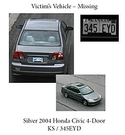 Police are looking for the victim's vehicle, silver four-door 2004 Honda Civic, which has the Kansas license plate 345EYD.