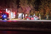 Two people were injured in a rollover crash on Interstate 435 near the 79th Street bridge early Friday morning.