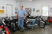 Howard owns 19 classic motorcycles, which he stores in his garage and basement.
