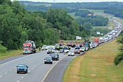 One person was killed in a crash on Interstate 435 around 10 a.m. Tuesday in Shawnee.