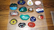 "Some examples of the rocks that Shawnee resident Beth Kornegay and Mayor Michelle Distler painted for their ""Shawnee KS Rocks"" project. At least 40 of the rocks have been hidden in various Shawnee parks or other public places."