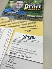 A recent mailing for Brett Hildabrand, Republican incumbent in House district 17, features a letterhead from the Shawnee Mission School District. The district posted a statement yesterday on its website that it does not endorse political candidates.
