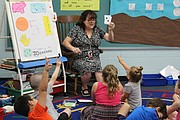 Future kindergarten students hold up the correct number of fingers to show teacher Jacque Jones how many dots are displayed on the card she is holding Friday at Bluejacket-Flint.
