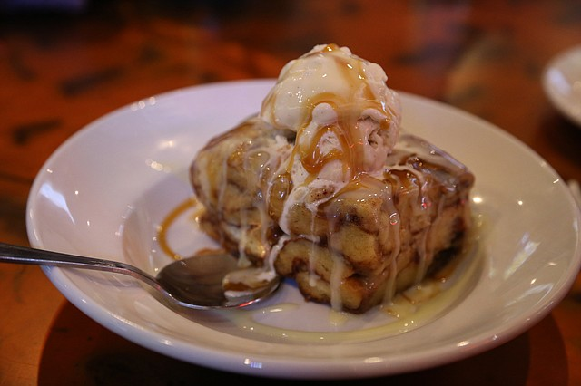 Cinnamon roll bread pudding is one of the dessert options on the KC Restaurant Week lunch and dinner menus at Brewbakers Bar & Grill in Lenexa.